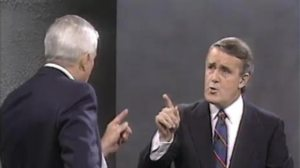 John Turner confronted Prime Minister Brian Mulroney in an October 1988 election debate on free trade.